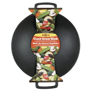 Mr. Bar-B-Q Cast Iron Wok 14 inch with 2 Handles