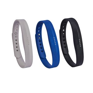 Affinity Fitbit Flex 2 Band 3pk TPU, Solid Grey / Blue / Black
