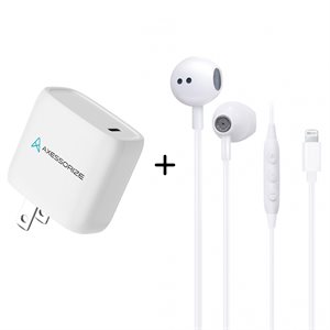 Drexel Combo Wired Headset & 20W PD Charger - White