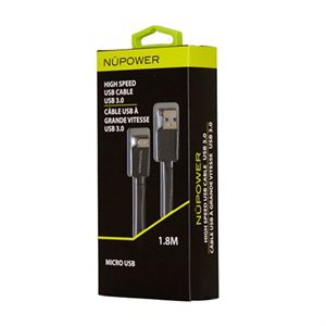 NÜPOWER 3.0 USB Cable, 1.8 metre Galaxy S5 / Note USB, Black