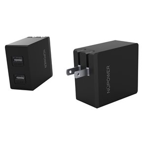NÜPOWER Dual USB Home Wall Charger Adapter 4.8 Amp (CUL Approved)