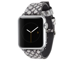 Rebecca Minkoff 38mm Apple Watchband, Silver Snake Skin