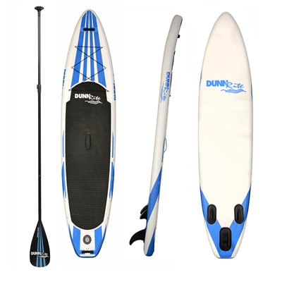 DunnRite Inflatable Paddle Board, White with Blue