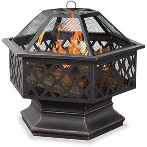Blue Rhino OR Bronze Hex Firebowl w / Lattice Design