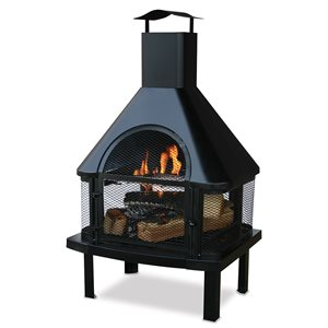 Endless Summer Black Wood Firehouse with Chimney